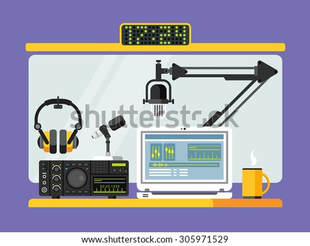 Professional radio station studio with microphone and other equipment on table flat vector illustration - stock vector