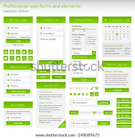 Professional set of web forms and elements - stock vector