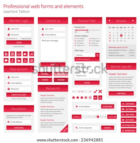 Professional set of web forms and elements on light background - stock vector