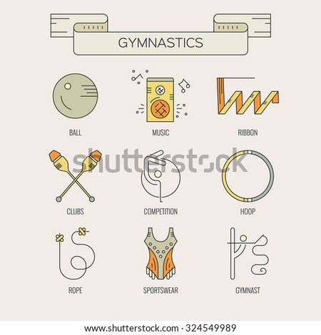 Professional sport line vector collection - rhythmic gymnastics equipment. Sport vector. Modern and unique line vector collection of professional rhythmic gymnastics equipment. Sport vector.  - stock vector