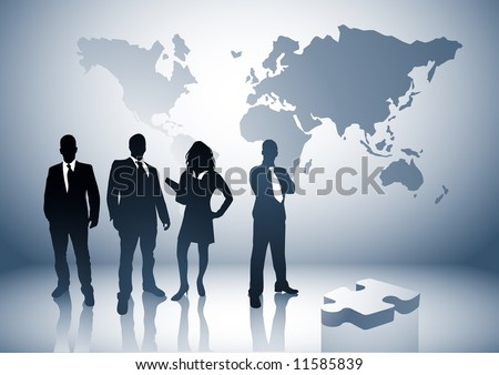 Professional team with the world behind them. - stock vector