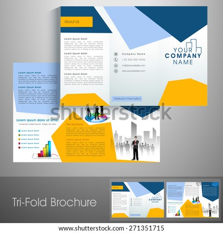 Professional trifold brochure, catalog and flyer template for business purpose. - stock vector