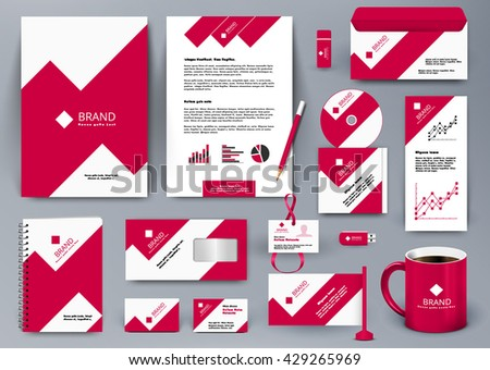 Professional universal branding design kit with red and white geometry forms like mountain or infographic. Corporate identity template. Business stationery with badge, folder, cup,  pennant, letter.  - stock vector