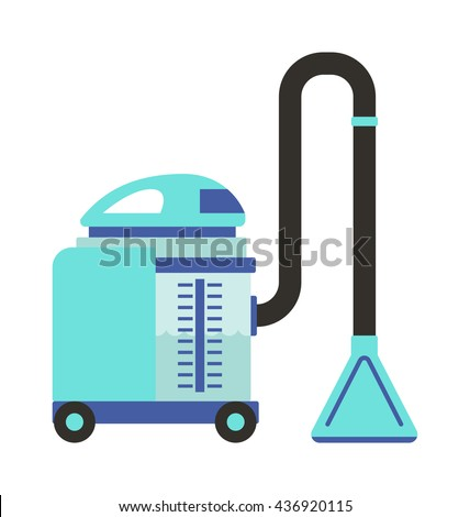 Professional vacuum cleaning equipment isolated on white background. Vector cleaning equipment tool and service cleaning equipment housework tools. House product chemical washing tool - stock vector