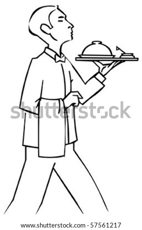professional waiter carries order,vector illustration - stock vector