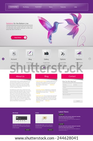 Professional Website Template for Your Business. Vector Eps, 10  - stock vector