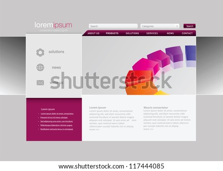 Professional website template in editable vector format