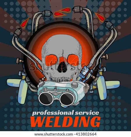 Professional welding skull sticker welder pop art vector