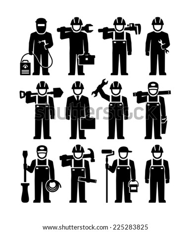 Professional Workers Vector Figure Pictogram icons  - stock vector