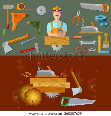 Professional workspace carpenter tools flat vector illustration - stock vector