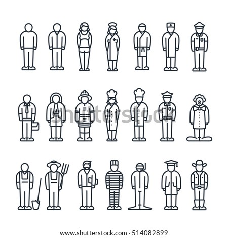 Professionals Worker Employee Job Work Profession Occupation Career Servant Vector Flat Line Icon Set Symbol Pictogram Minimalistic Isolated On White
