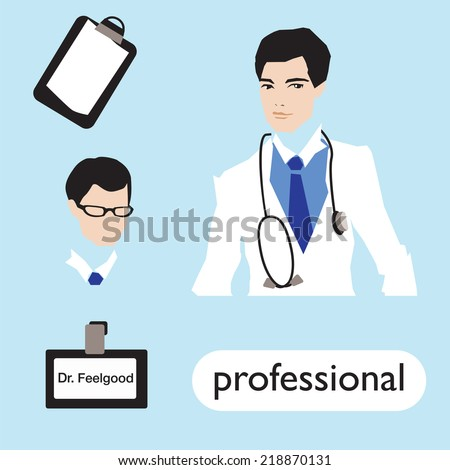 Professionl, male doctor  set. Vector. 10 Eps. - stock vector