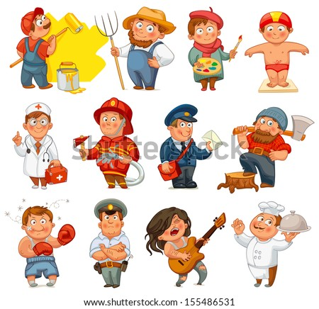Professions. Builder, painter, rocker, woodcutter, swimmer, cook, farmer, postman, policeman, boxer, doctor, fireman. Vector illustration. Isolated on white background. Set - stock vector
