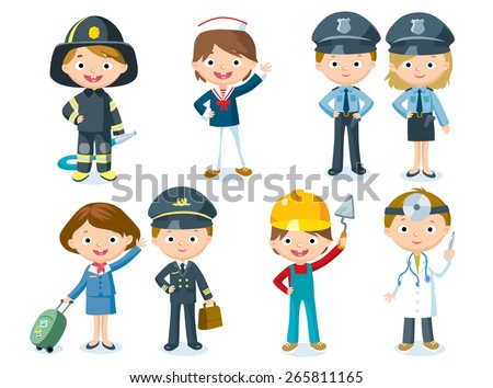 professions for kids - stock vector