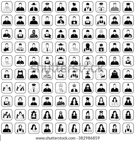 Professions 100 icons, profile icon set, Characters of person icon - stock vector