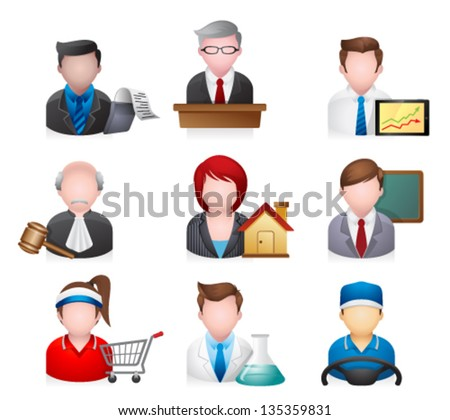 Professions people icons - stock vector