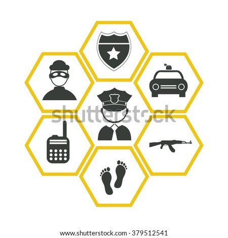 Professions. Policeman and fire-fighter. People at work. Set. Vector icon.