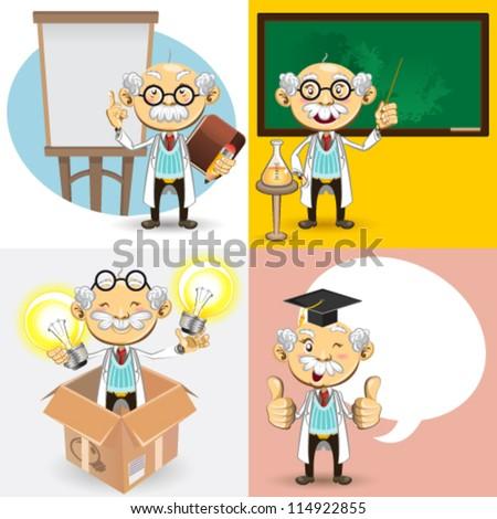 Professor academic smart oldman Characters - stock vector