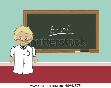 professor at a blackboard, change the text for your own