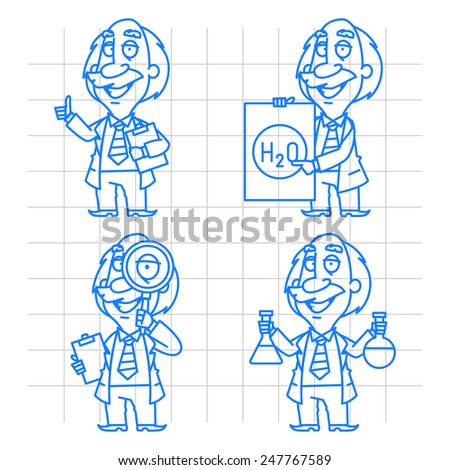 Professor doodle concept set 2 - stock vector