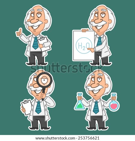 Professor in various poses set stickers 2 - stock vector