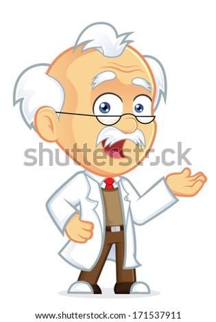Professor in Welcoming Gesture - stock vector