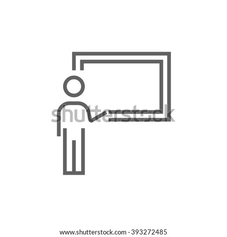 Professor pointing at blackboard line icon. - stock vector