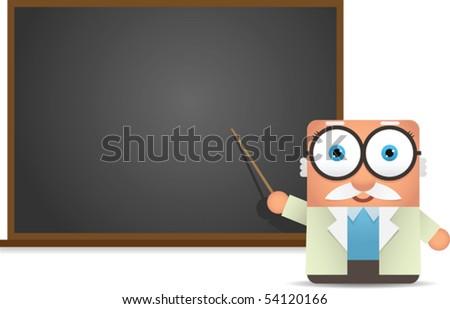 Professor presentation on blackboard - stock vector