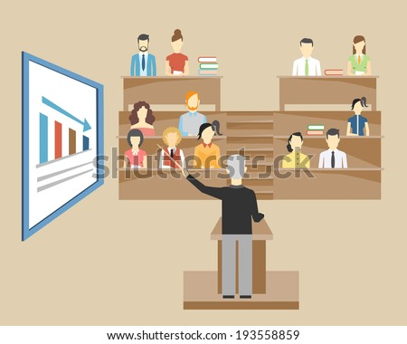 Professor standing in the front of the class at a lectern lecturing to students at university who are sitting in tiered seats facing the viewer  illustration - stock vector