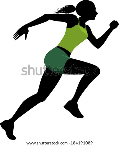 Profile black silhouette of a young woman in a bright green athletic clothes running, vector illustration - stock vector