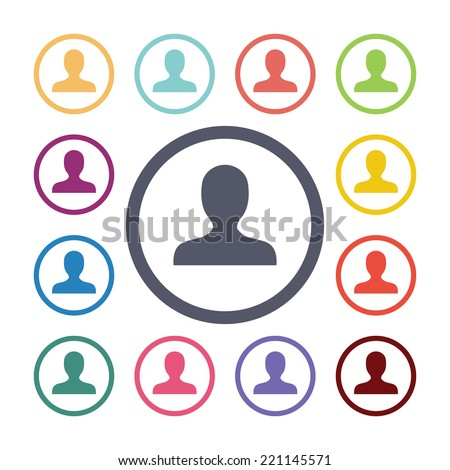 profile flat icons set. Open round colorful buttons. Vector  - stock vector