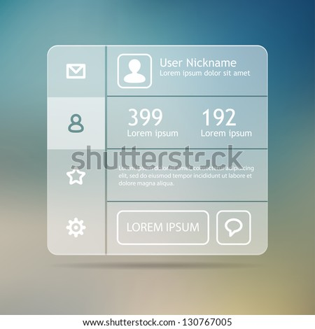 Profile for social media. Minimal application for web or mobile devices. - stock vector