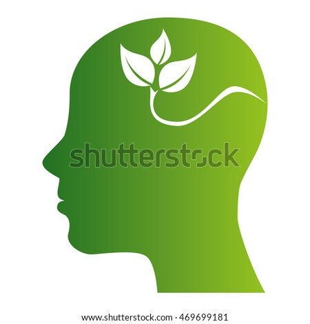profile head plant leave ecology bioambiental earth eco nature vector  isolated illustration