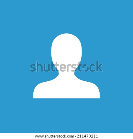 profile icon, isolated, white on the blue background. Exclusive Symbols  - stock vector