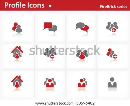 Profile icons set - Firebrick Series Set 1 - stock vector