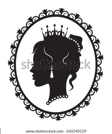 profile in the crown princess in the frame  - stock vector