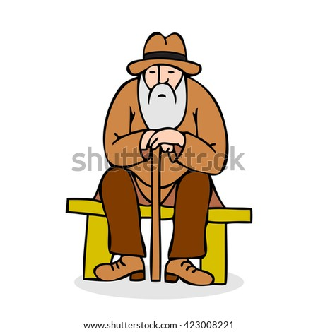 profile isolated stick fun hat bench brown sitting adult vector caricature male character grandfather outside old drawing one elder walk hunched portrait beard funny elderly support illustration white - stock vector