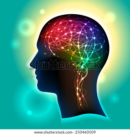 Profile of a human head with a colorful symbol of neurons in the brain  - stock vector