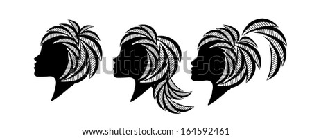 Profile of beautiful girls with different hairstyles. Vector - stock vector