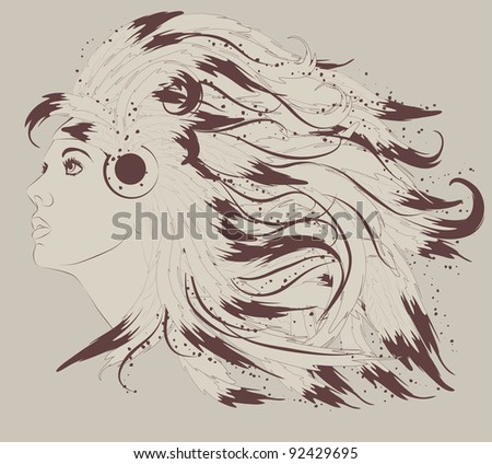 Profile of beautiful Native American woman with feathers - stock vector