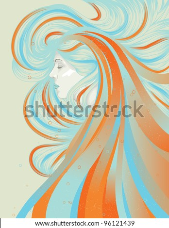 Profile of beautiful woman with abstract flowing hair - stock vector