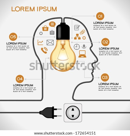 Profile of human head with  lightbulb, icons,  plug, socket, text. Concept of business idea. The file is saved in the version AI10 EPS. This image contains transparency. - stock vector
