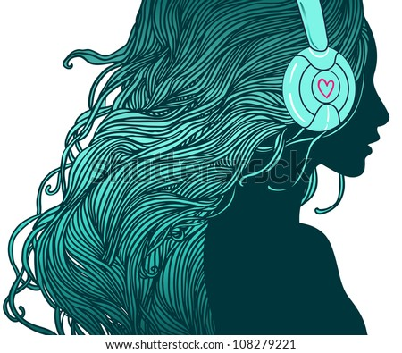 Profile of pretty girl with long hair in headphones - stock vector