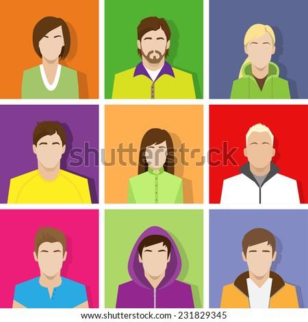 profile set icon avatar male and female portrait casual person colorful silhouette face flat design vector - stock vector