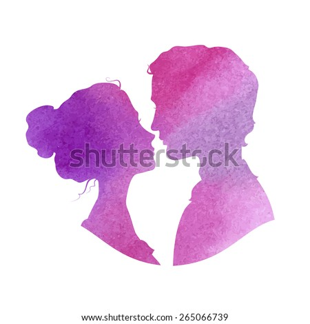 Profile silhouettes of man and woman. Loving couple going to kiss. Watercolor vector illustration - stock vector