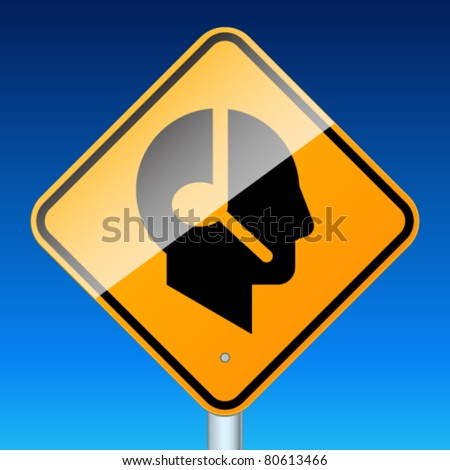 Profile with handsfree. High-detailed vector sign - stock vector