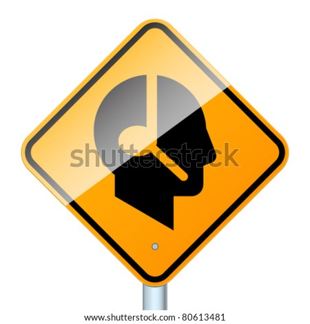 Profile with handsfree. High-detailed vector sign isolated on white background - stock vector