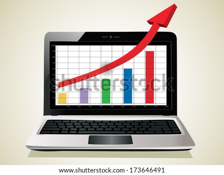 Profit concept, red arrow shows business growth chart