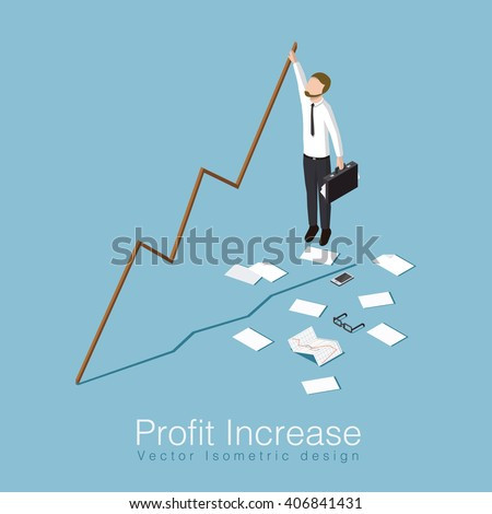 Profit increase isometric concept vector illustration. Business man has unexpected a big stock profit and trying to keep up with increasing stock rates. - stock vector