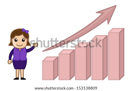 Profit Increased Stats Graph - Cartoon Business Vector Illustrations - stock vector